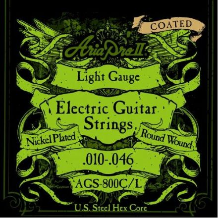Aria AGS 800C/L Coated 10-46 Nickel Plated Steel Electric Guitar Strings